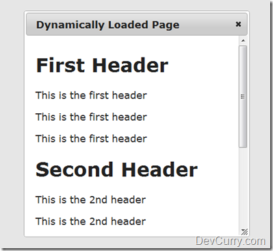 DevCurry: Load a Page Dynamically inside the jQuery UI Dialog