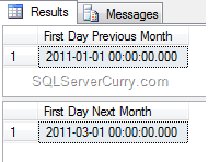 SQL Server first day output