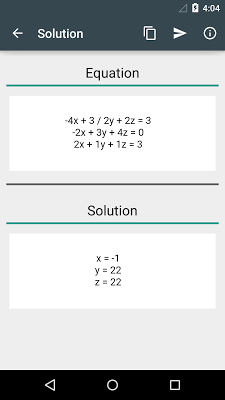 System of linear equations - screenshot