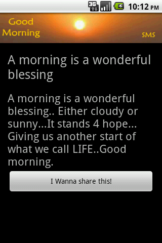 Good Morning SMS - screenshot