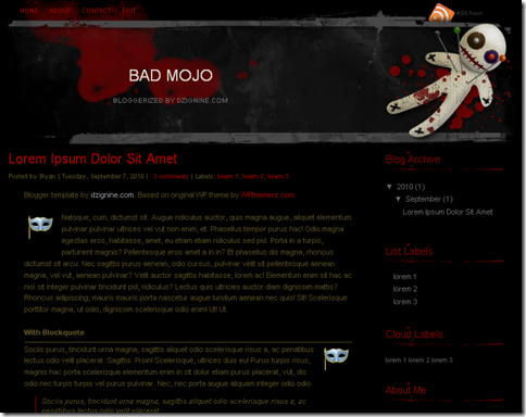Bad Mojo Blogger Template