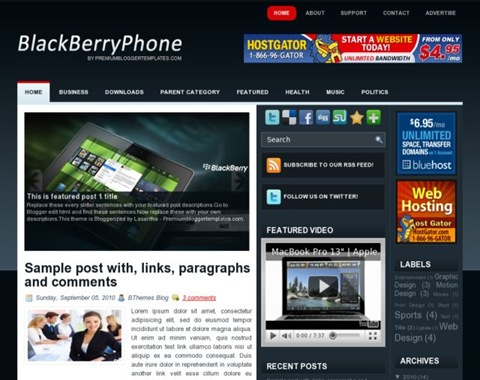 BlackberryPhone Blogger Template