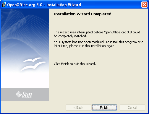 OpenOffice.org installation wizard completed: click finish