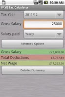 Screenshot of PAYE Tax Calculator Pro