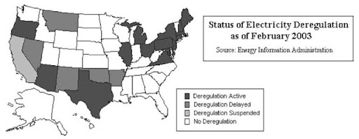 what states have deregulated electricity