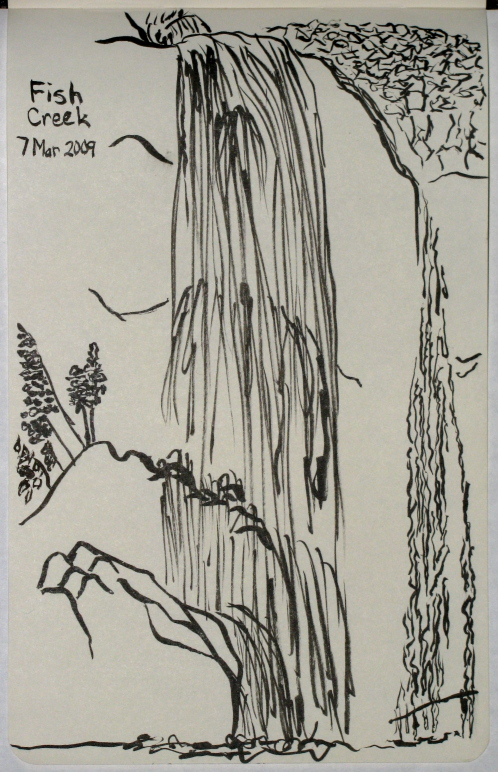 Sketch of Fish Creek falls.