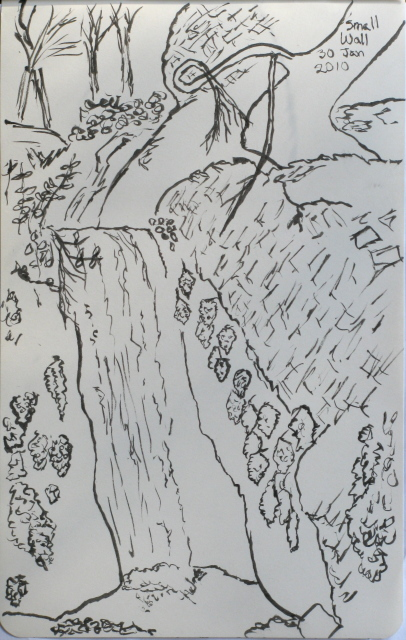 Sketch of the waterfall in its little box.