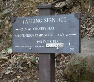 Up to the upper trail and sign.