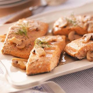 Salmon with Lemon-Mushroom Sauce.