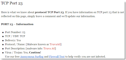 Audit My PC TCP 23