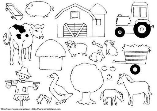 clip art de la granja para colorear