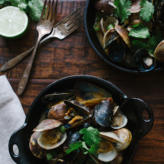 Steamed Clams and Mussels in Coconut Curry Broth.
