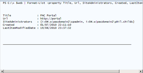 Viewing SharePoint properties as lists, tables and CSV in PowerShell