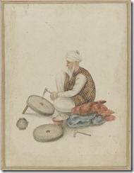 An Old Man is Dressing a Millstone - 19th Century Watercolor on Paper