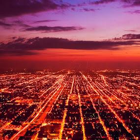 Chicago on fire by Nguyen Kien - City,  Street & Park  Skylines ( sunset, street, chicago, light, city )