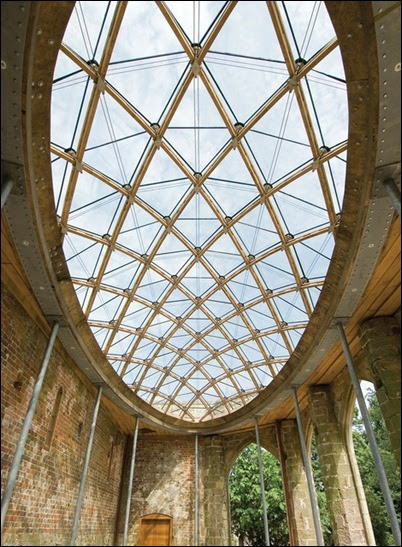 Timber Structures Wooden Gridshell With Glass Gridshell