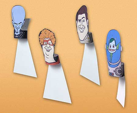 Megamind Papercraft Thumb War Puppets