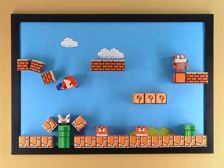 Build Your Own Super Mario Papercraft Magnet Board