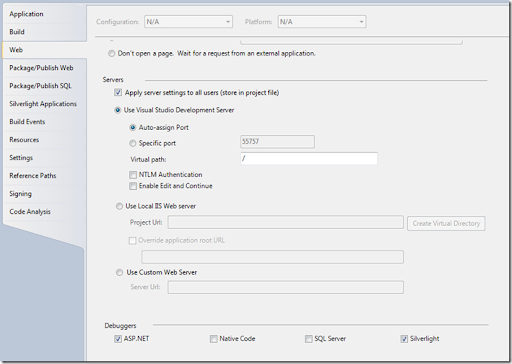 How to turn on Silverlight Debugging – ALM Guide – Esteban