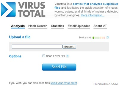 Virustotal main website - theprohack.com