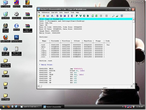 Open Hackers Disassembler and load copy of Winrar in it - www.theprohack.com