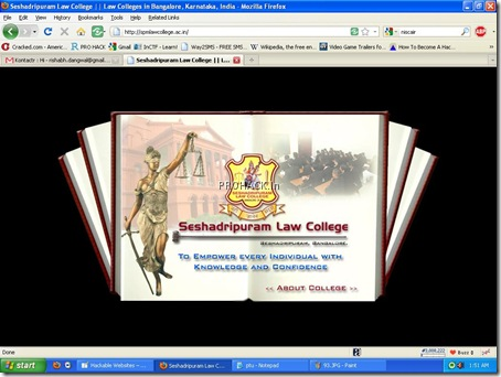 Seshadripuram Law college website and the trust's website