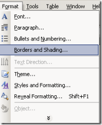 Gambar Menu Format Border and Shading Word 2003