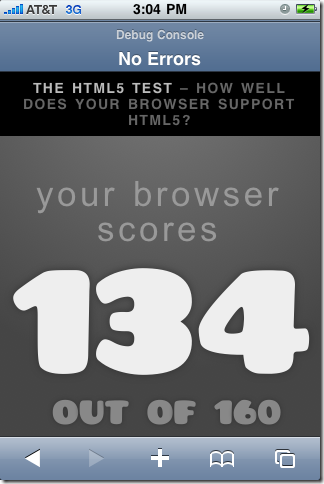 HTML5Test: Safari in iPhone OS 4.0