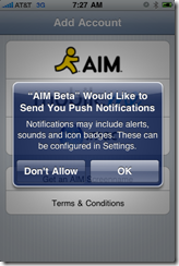 AIM Beta with Push Notfiications