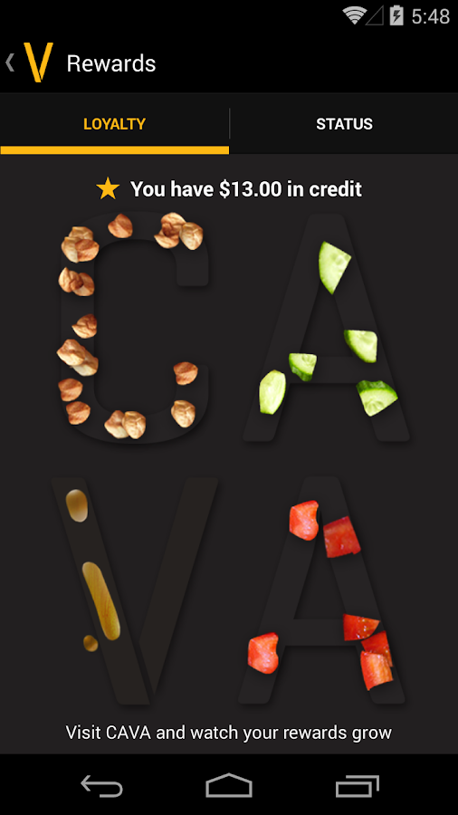 Cava Grill Loyalty- screenshot