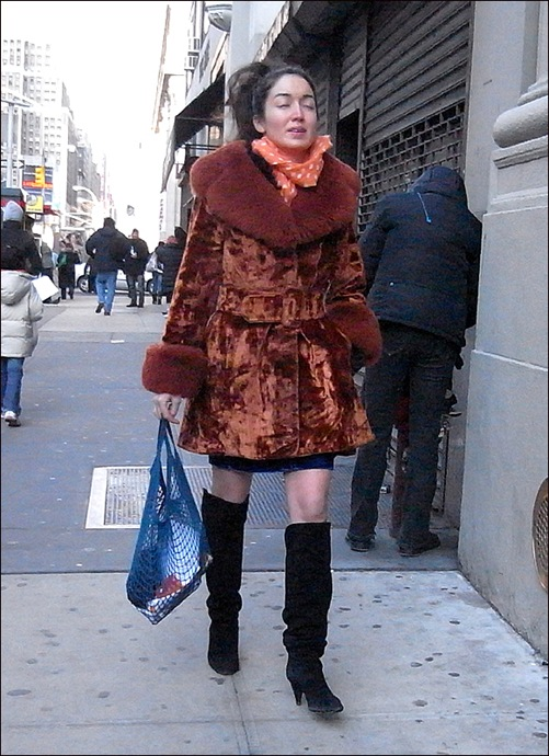 w burnt orange velvet and fur coat