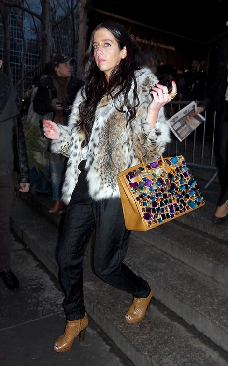 w leopard faux fur and big costume jewel bag