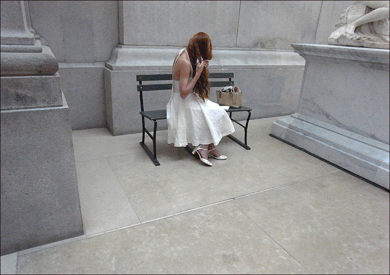 w white dress braiding red hair at met