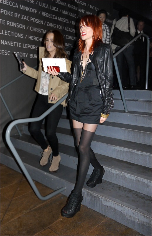 w black thigh high stockings black leather jacket red  hair