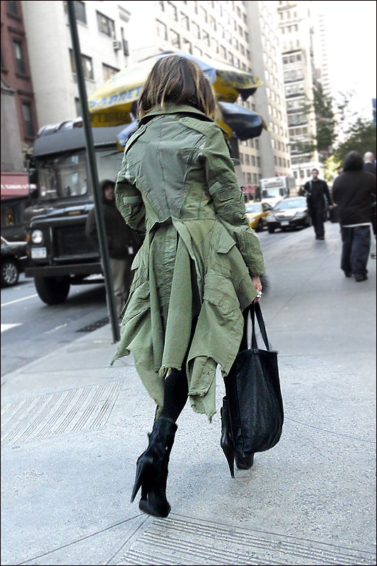 w grey feather mini dress od green jacket black platform boots back 2