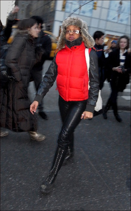 w red vest fur hat all black knee high lace boots