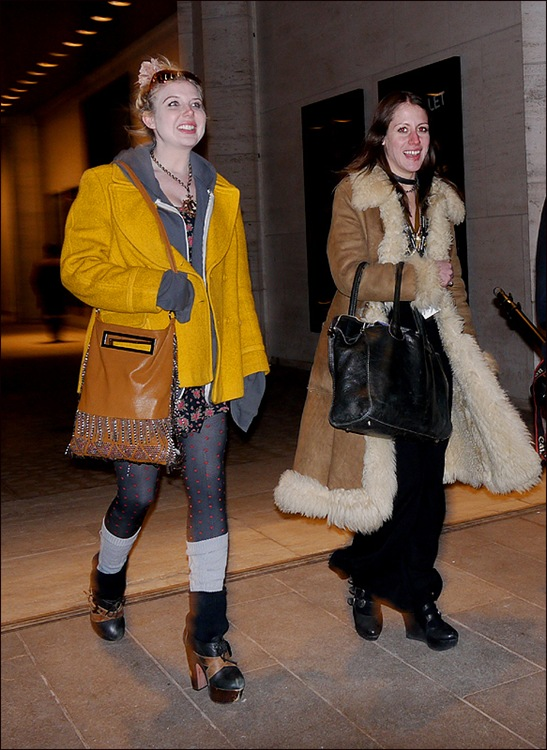 w yellow jacket polka dot hose  long fur lined coat