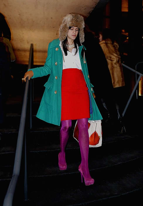 w fur bomber green coat bright red skirt magenta tights and high heels