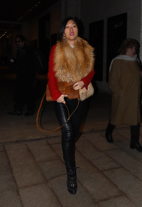w red coat fur scarf black leather pants leather texture bag