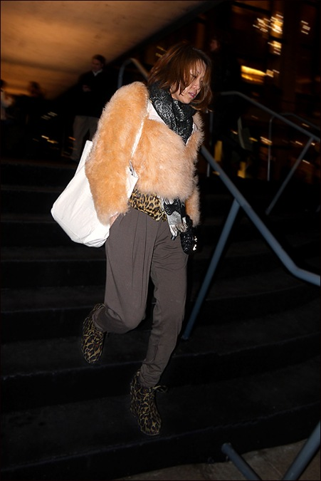 w fur jacket leopard vest under pleated pegged pants leopard platform ankle boots
