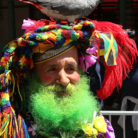 Colorful Man  by VAM Photography - People Street & Candids ( man. bird, parade, places, nyc, , colorful, mood factory, vibrant, happiness, January, moods, emotions, inspiration )