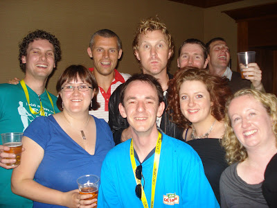 photo shows me, Darren Byrne, Liz, Anthony, Niamh and friends with Des Bishop and Jason Byrne