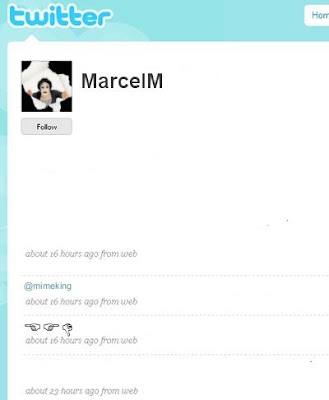 image shows marcel marceau's twitter page which is, strangely, silent...