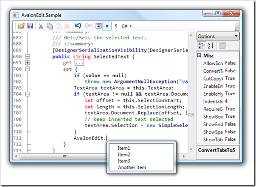 AvalonEdit, a (the?) WPF code editor component from the SharpDevelop