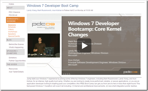 PDC09 Windows 7 Developer Boot Camp videos now online and
