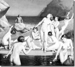 Nausikaa and her handmaids bathe in a stream near the beach, with Odysseus approaching in the background.