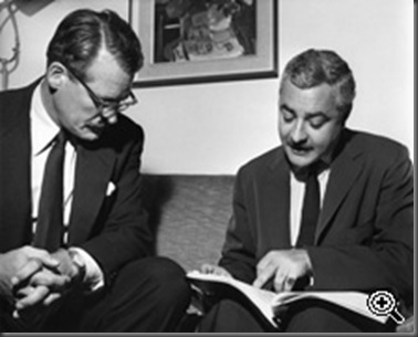 Anthony Hinds, 'Hammer Films' producer and screenwriter, with Michael Carreras, 'Hammer Films' producer, executive producer, and director. Circa 1960.