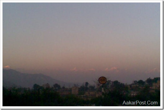 View of Himalays from Dhulikhel