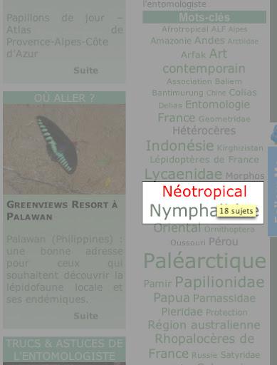15. Exemple : choix du mot clé « Néotropical » : le logiciel annonce 18 sujets.