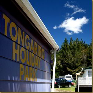 Tongariro Holiday Park sign